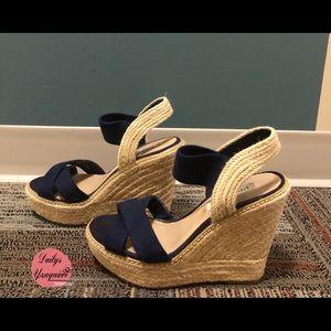 dark blue platform sandals